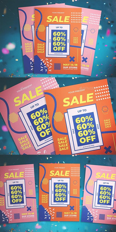 Memphis Sale Flyer - Flyers Print Templates