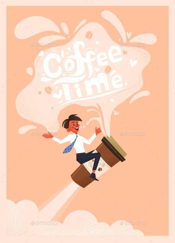 Office Employee Drinks Coffee - Backgrounds Decorative