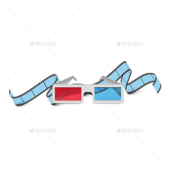 Cinema Films and 3D Glasses - Web Elements Vectors
