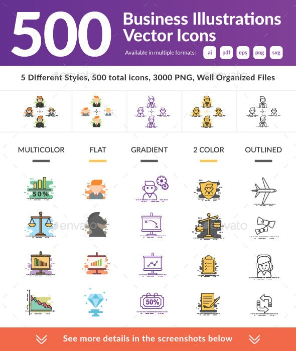 500 Business Illustrations Vector Icons - Business Icons