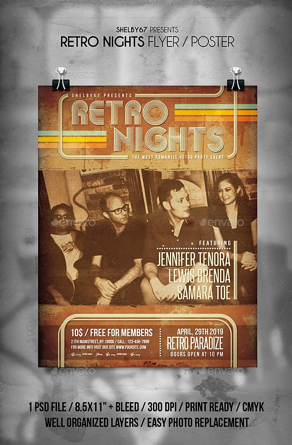 Retro Nights Flyer / Poster Vol 2 - Events Flyers