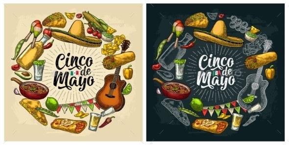 Circle Shape Set Mexican Food Engraving - Miscellaneous Seasons/Holidays