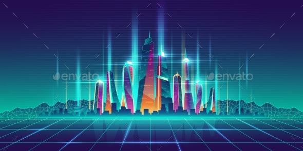 Future Metropolis Virtual Model Cartoon Vector - Buildings Objects