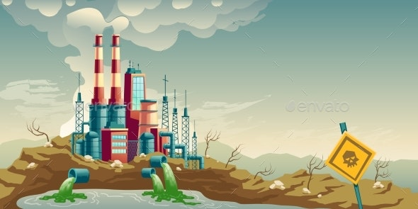 Industrial Pollution of Environment Cartoon Vector - Industries Business