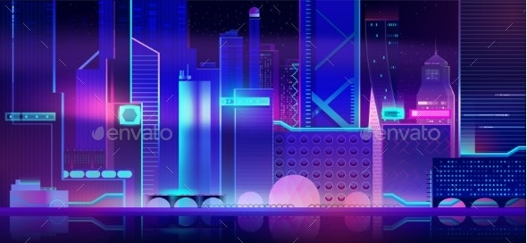 Futuristic City Background with Neon Illumination. - Buildings Objects