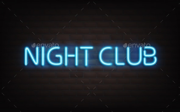 Night Club Blue Neon Lettering on Dark Brick Wall. - Backgrounds Decorative