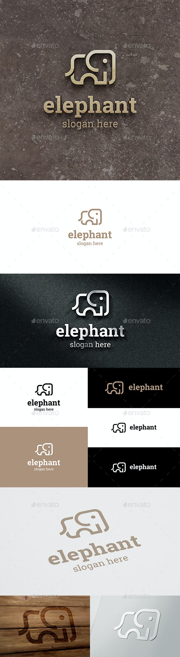 Elephant Clean and Minimal Vector Logo - Animals Logo Templates