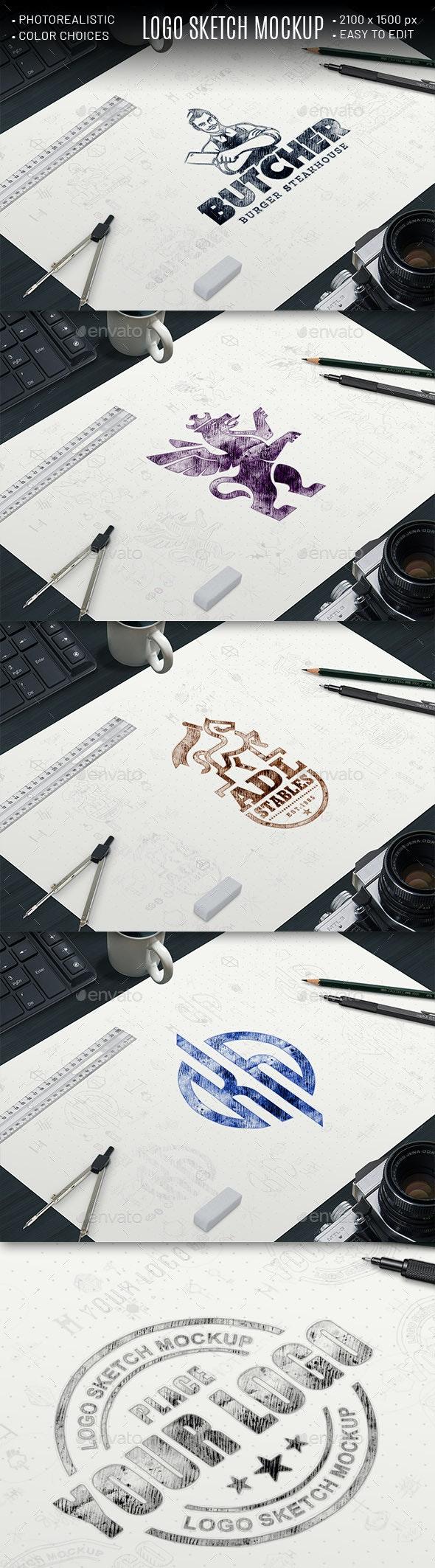 Logo Sketch Mockup - Logo Product Mock-Ups