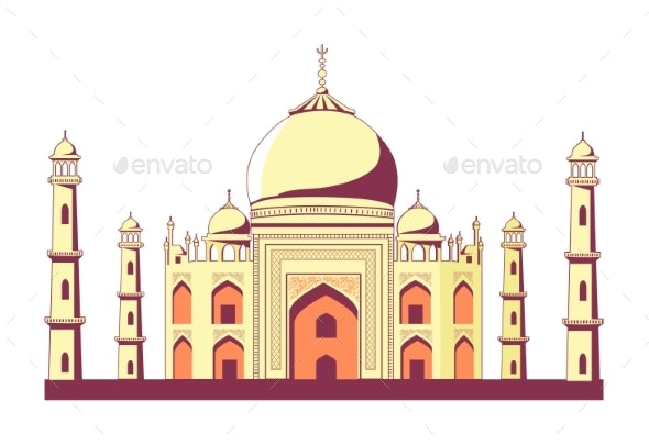 Famous Indian Building of Taj Mahal Illustration - Buildings Objects