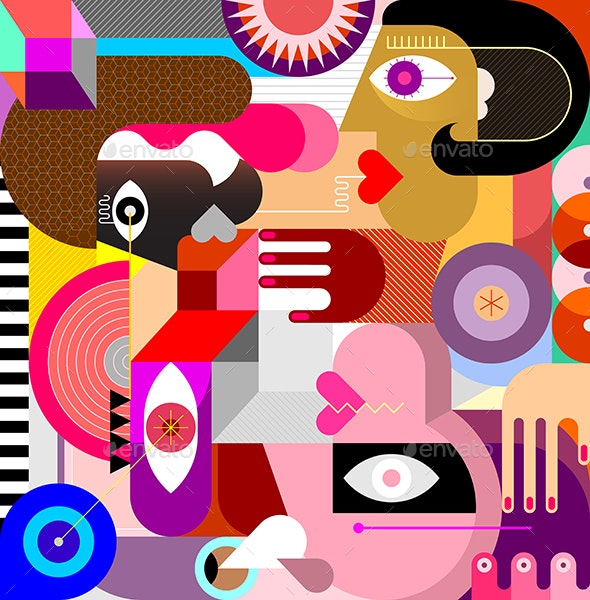 Three People Abstract Art Vector Portrait - People Characters