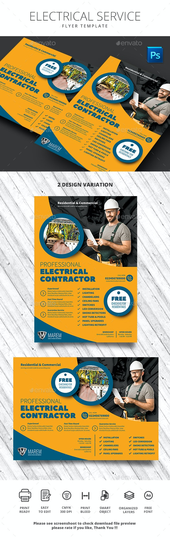 Electrical Service - Flyers Print Templates