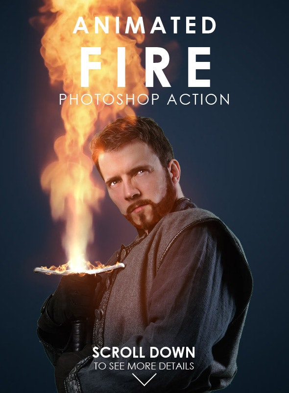 Animated Fire Photoshop action from Graphicriver preview image