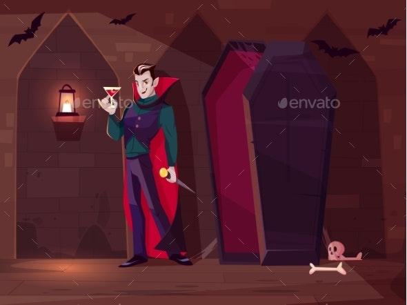 Vampire Drinking Blood Cartoon Vector Concept - Monsters Characters