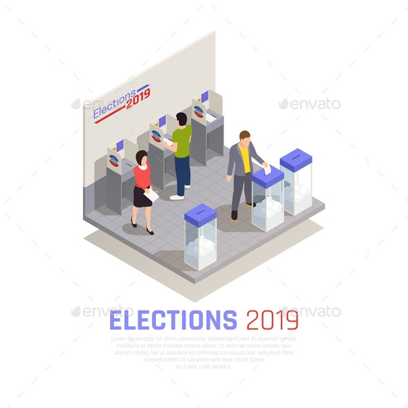 Elections Isometric Concept - People Characters