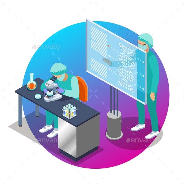 Microbiology Isometric Emblem - Health/Medicine Conceptual