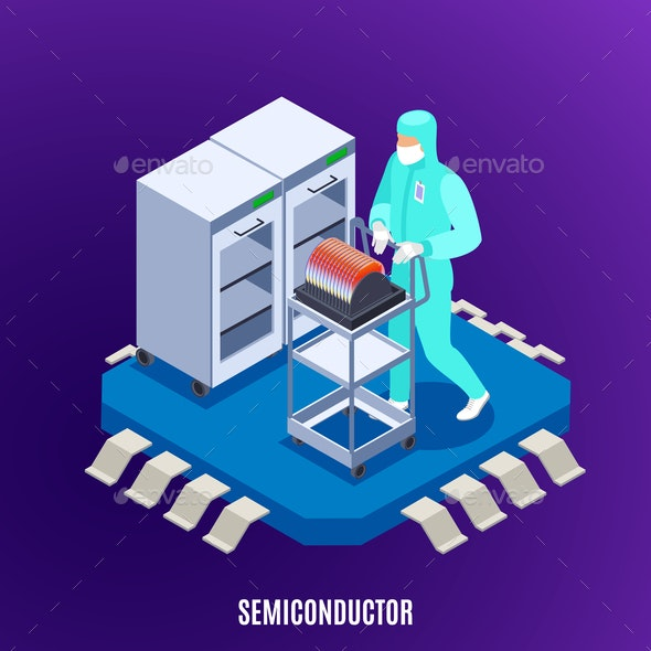 Semicondoctor Isometric Concept - People Characters