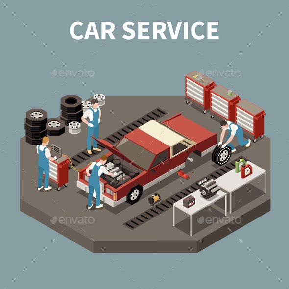 Car Service Isometric Composition - Services Commercial / Shopping