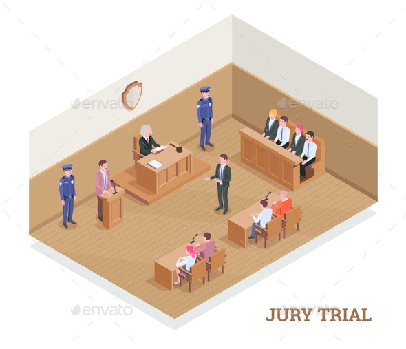Court Room Trial Composition - People Characters