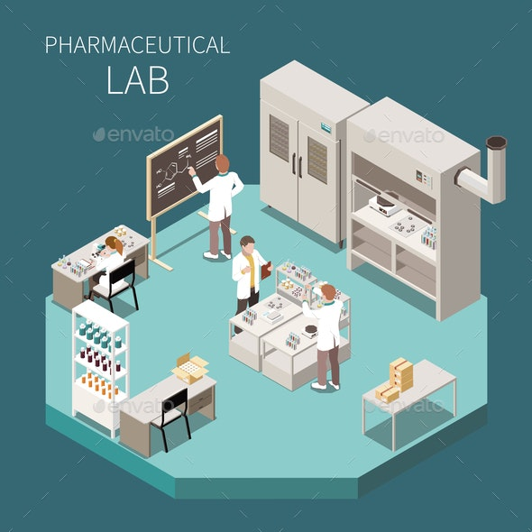 Pharmaceutical Production Isometric Composition - Health/Medicine Conceptual