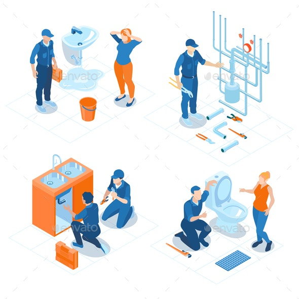 Plumbing Service Isometric Concept - Services Commercial / Shopping