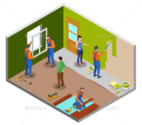 Home Repair Isometric Design Concept - Miscellaneous Vectors