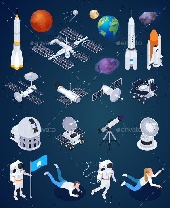 Space Exploration Isometric Set - Miscellaneous Vectors