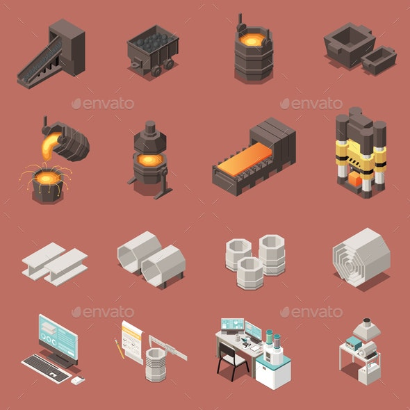 Metal Industry Isometric Icons Set - Industries Business