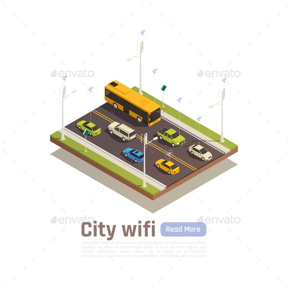 Smart City Isometric Banner - Miscellaneous Vectors