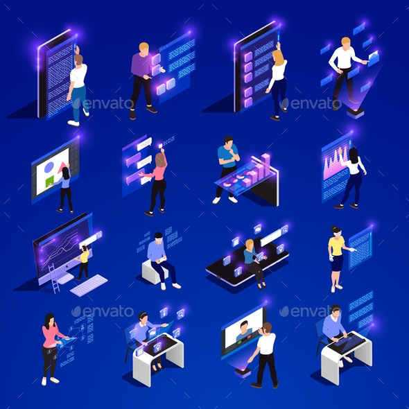 People and Interfaces Glow Isometric Icon Set - Communications Technology