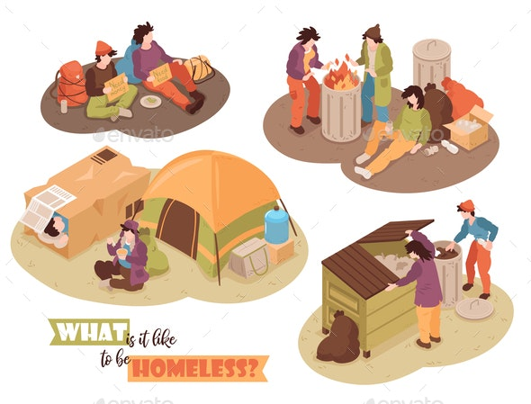 Isometric Homeless Design Concept - People Characters