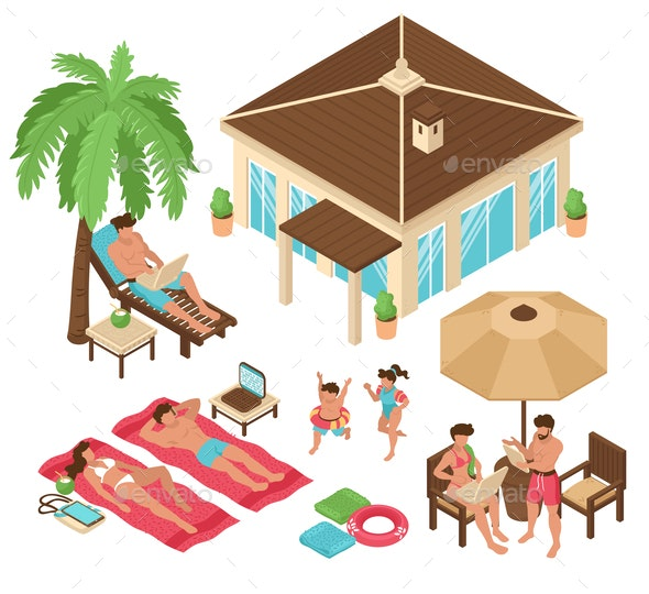Beach Relax Isometric Collection - Miscellaneous Seasons/Holidays