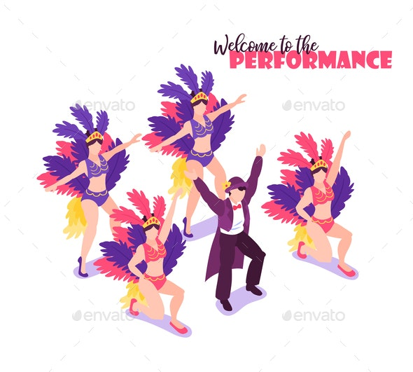 Performance Circus Isometric Background - People Characters