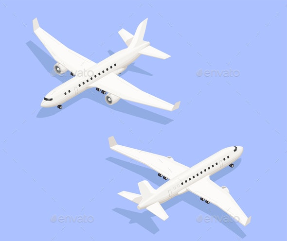 Isometric Jet Airplanes Composition - Travel Conceptual
