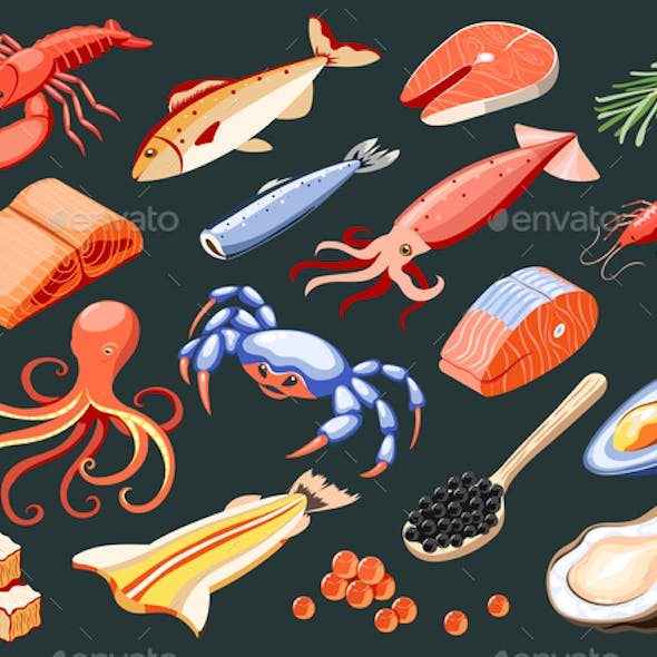 Fish Superfood Isometric Icons