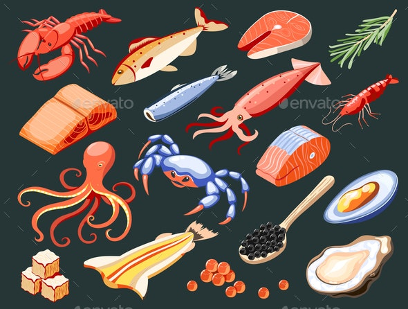 Fish Superfood Isometric Icons - Food Objects