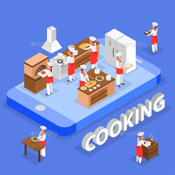 Cooking Isometric Composition - Food Objects