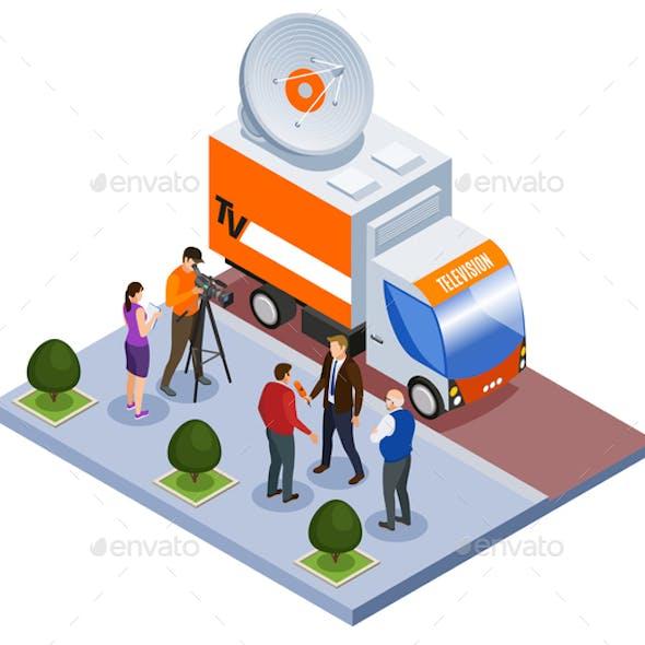 Broadcast Telecommunication Isometric Composition