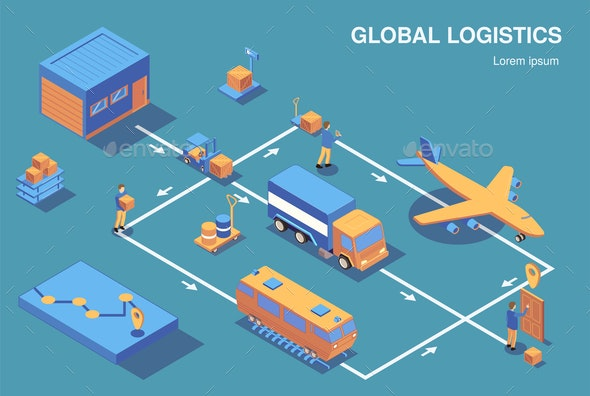 Global Logistics Isometric Flowchart - Buildings Objects