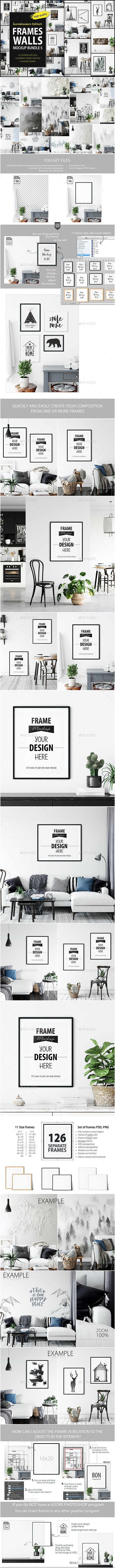 Scandinavian Interior Frames & Walls Mockup Pack – 5 - Product Mock-Ups Graphics