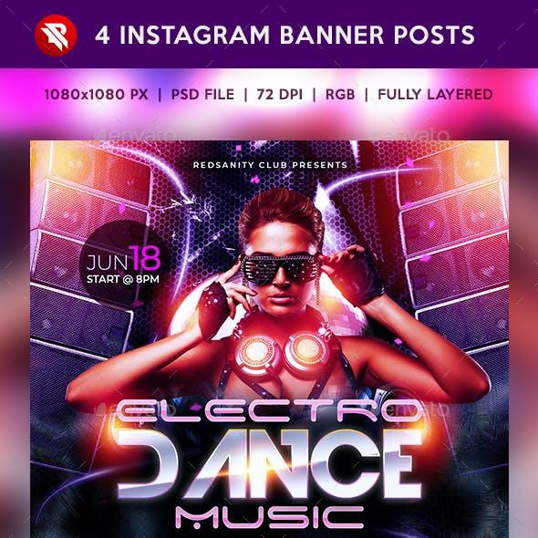 Electro Dance Music Instagram Banner Posts