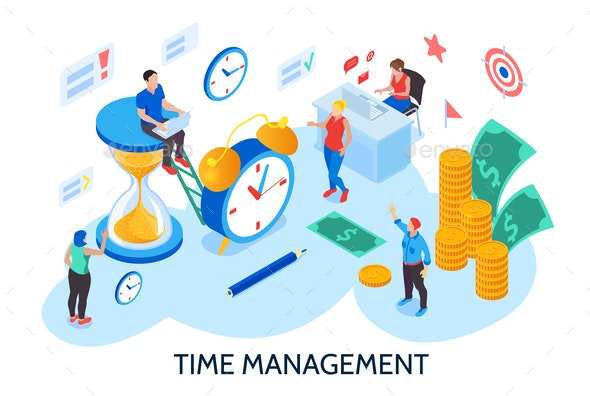 Time Management Isometric Illustration - Concepts Business