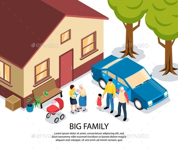 Family Isometric Illustration - People Characters