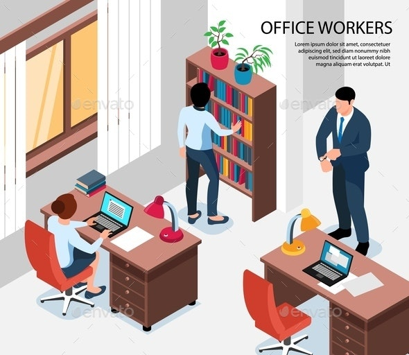 Office Workers Isometric Illustration - People Characters