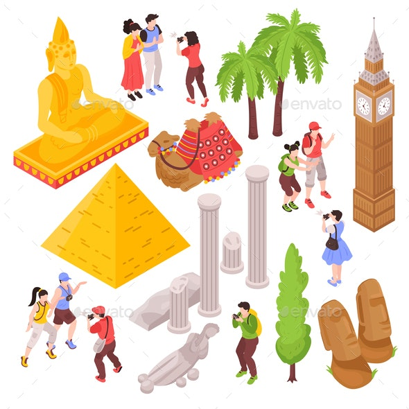 Isometric Travel Attractions Set - Travel Conceptual