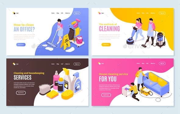 Isometric Cleaning Horizontal Banners - Services Commercial / Shopping