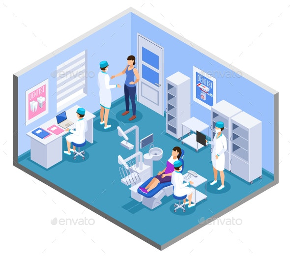 Dentist Isometric Composition - Health/Medicine Conceptual