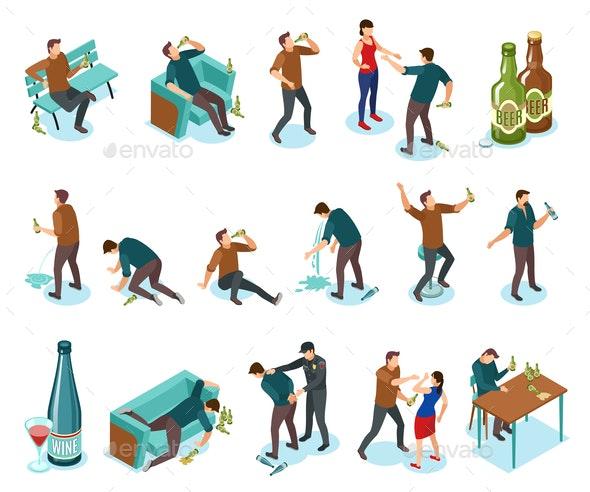 Alcoholism Isometric Icons Set - Miscellaneous Vectors