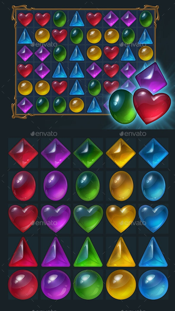 Jelly Style Gems for Match 3 - Miscellaneous Game Assets