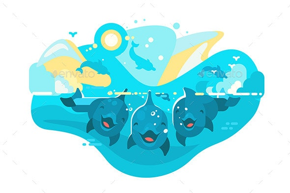 Flock of Dolphins Swimming in Sea - Animals Characters