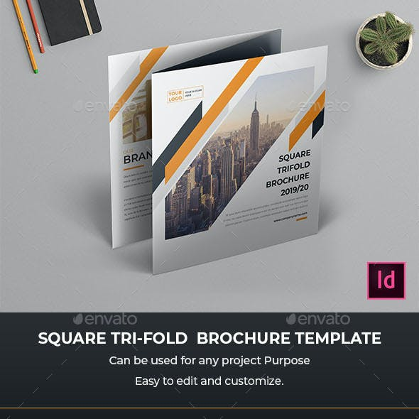 Square Trifold Brochure InDesign Template